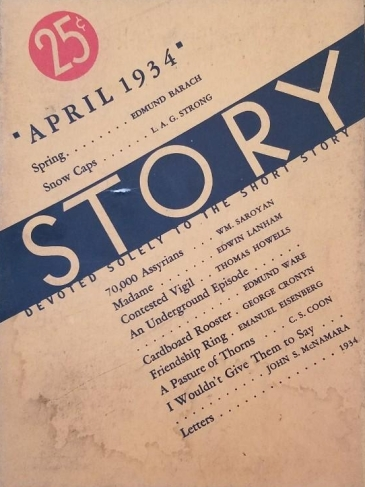 1 Story Magazine April 1934, Saroyan 70,000 Assyrians