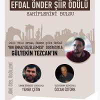 Efdal Önder Şiir Ödülü'nü kazananlar açıklandı